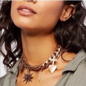 Free people biker charm necklace